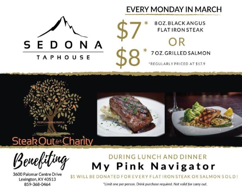 My Pink Navigator and Sedona Taphouse Steak Out For Charity